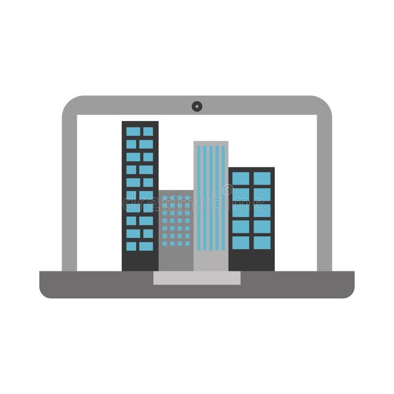 有大厦都市风景场面的膝上型计算机 皇族释放例证