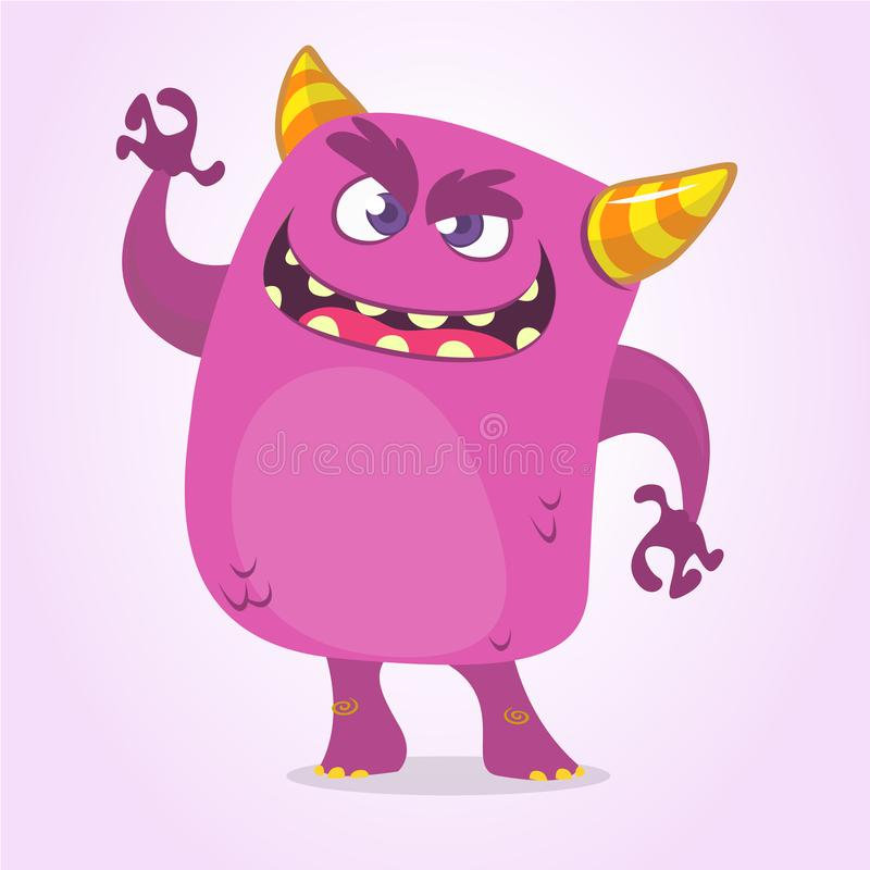有大嘴挥动的动画片可怕妖怪 传染媒介紫色妖怪字符 向量例证