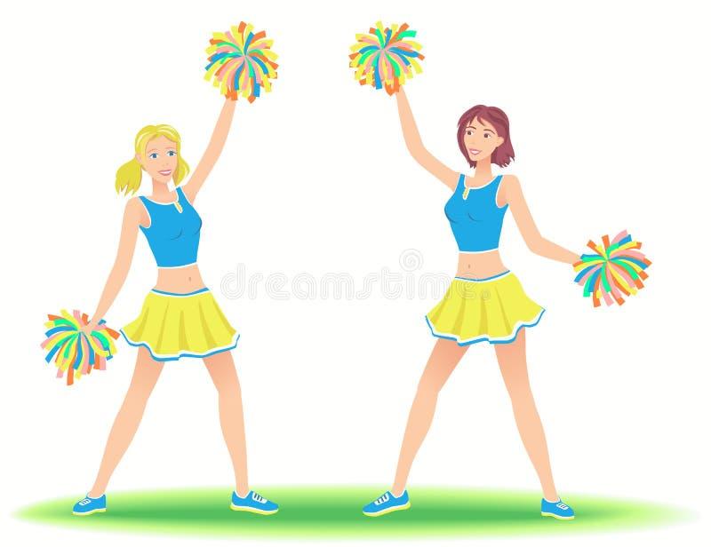 有大型机关炮的啦啦队员 女孩支持组跳舞 库存例证