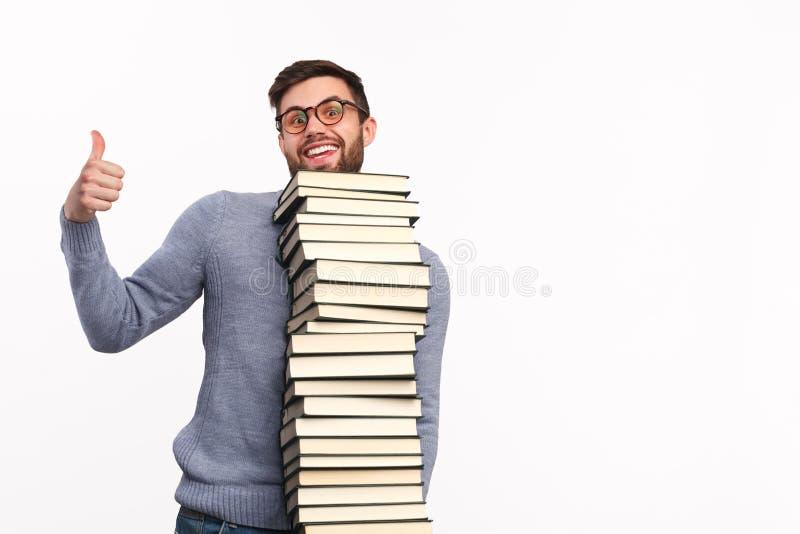 有大堆的满意的学生书 库存照片