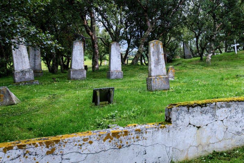 有大墓碑的老冰岛公墓 免版税库存照片