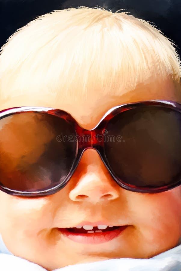 有大太阳镜的滑稽的小女孩 免版税库存图片