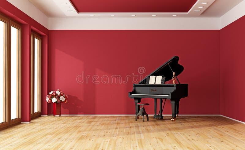 有大平台钢琴的红色室 皇族释放例证