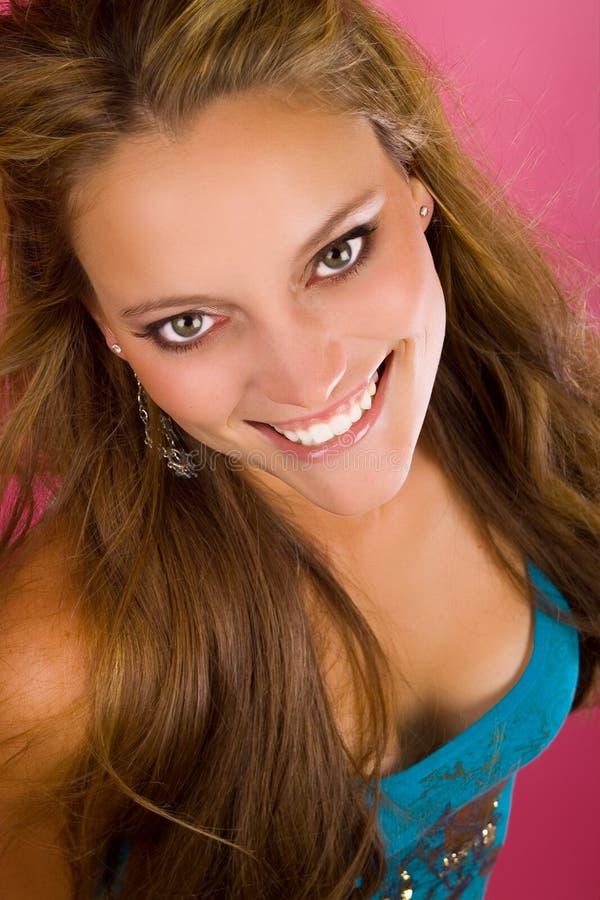 有大微笑的少妇 免版税库存照片