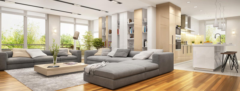 有大沙发的现代客厅和现代厨房 库存照片