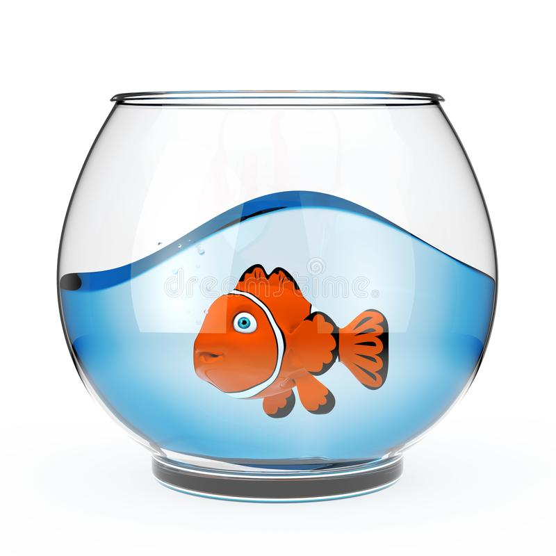 有大海和红色的现实空的玻璃Fishbowl水族馆 向量例证