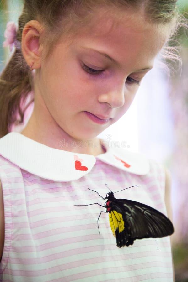 有大热带蝴蝶的美丽的小白种人女孩坐她的礼服 库存图片