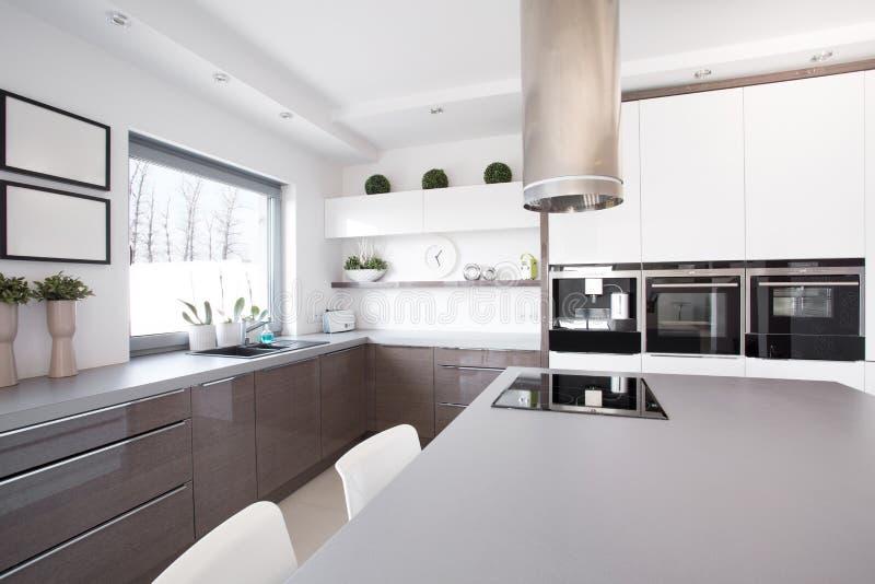 有大烹调空间的厨房 库存图片