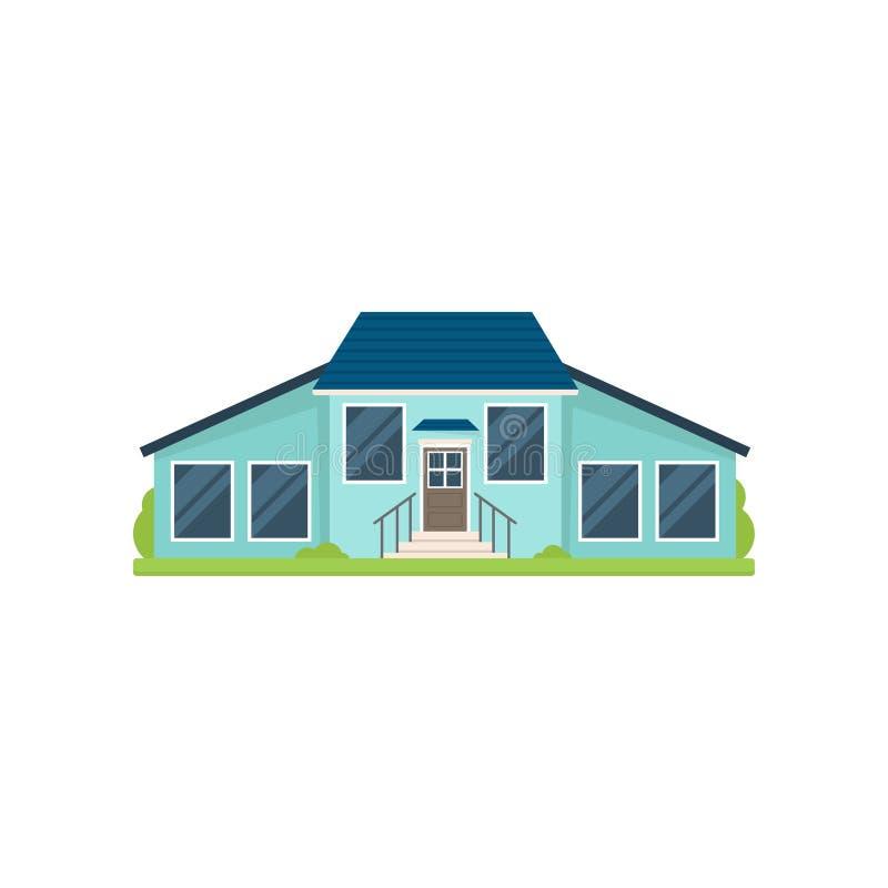 有大玻璃窗的逗人喜爱的五颜六色的蓝色房子 向量例证