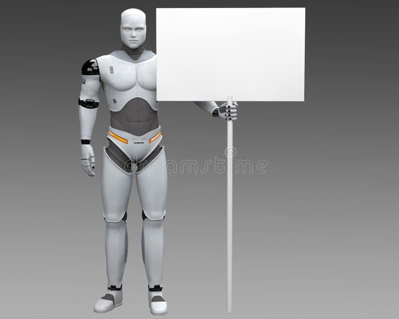 有大白色投票的空白的标志的男性机器人 皇族释放例证