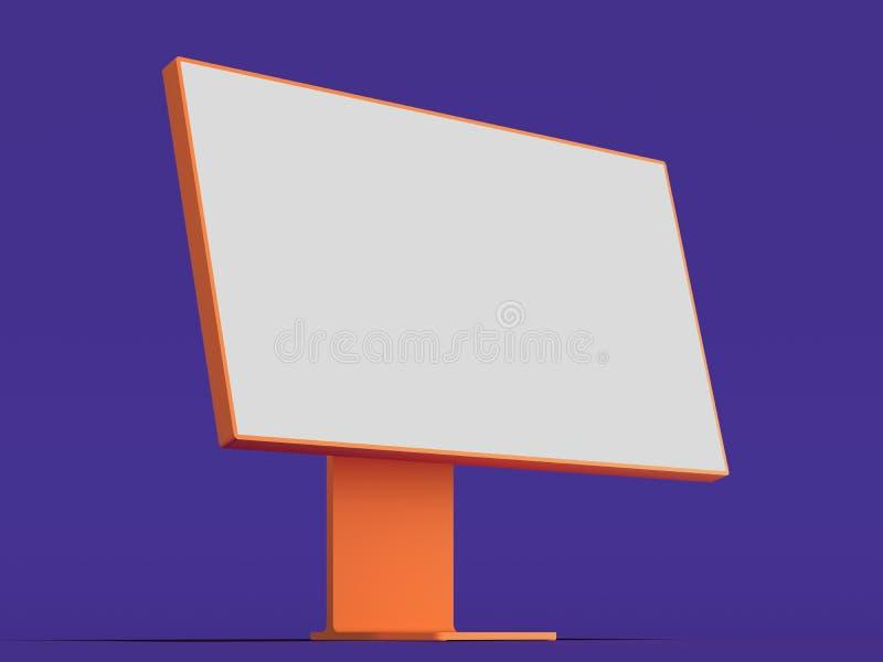 有大白色空白的显示器、键盘和计算机老鼠的现实个人计算机 3d?? 向量例证