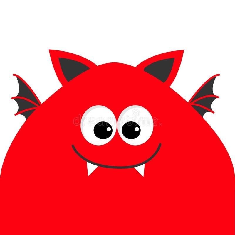 有大眼睛、犬齿牙和翼的滑稽的妖怪头 逗人喜爱的漫画人物 红颜色 婴孩汇集 查出 愉快尊敬 向量例证