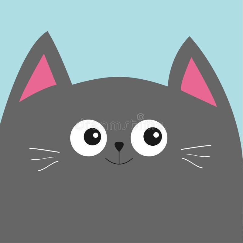 有大眼睛和髭的灰色猫头 逗人喜爱的漫画人物 宠物婴孩汇集卡片 平的设计 库存例证