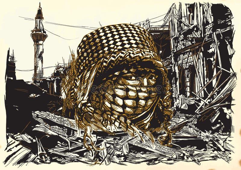 有大眼睛的一名回教妇女,佩带在战争r前面的一niqab 库存例证