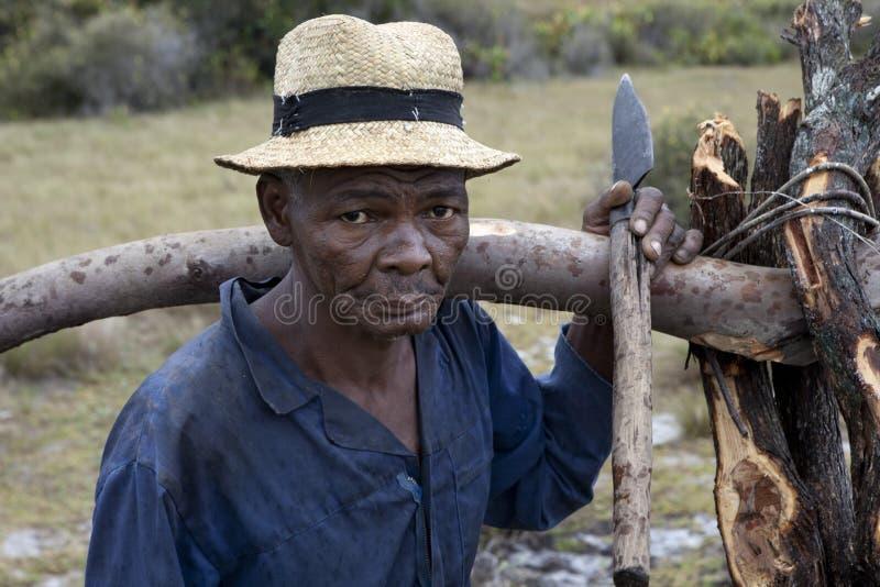 有大砍刀的马达加斯加人的人 库存照片