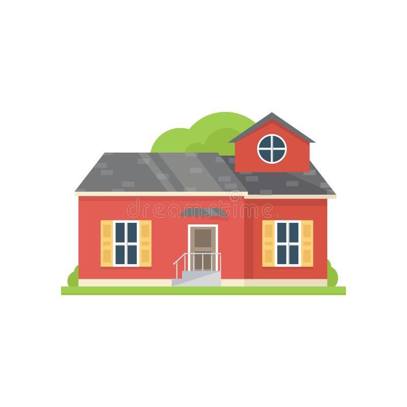 有大窗口和篱芭的红色经典村庄房子 皇族释放例证