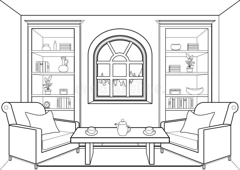 有大窗口概述的,平展内部,等高线性图画,着色,黑白传染媒介例证室 客厅, 向量例证