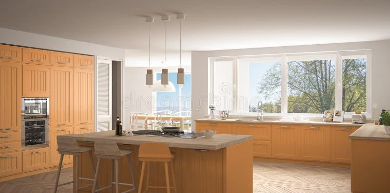 有大窗口的现代斯堪的那维亚厨房,全景经典之作wh 皇族释放例证