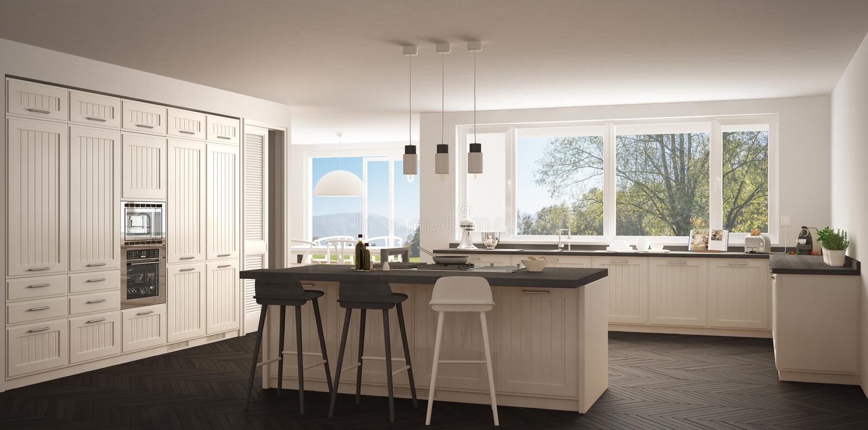 有大窗口的现代斯堪的那维亚厨房,全景经典之作wh 库存例证