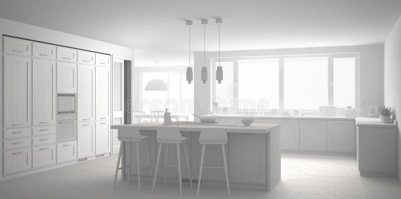 有大窗口的总白色现代斯堪的那维亚厨房, panoram 皇族释放例证