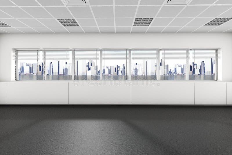 有大窗口3d内部的空的室 库存例证