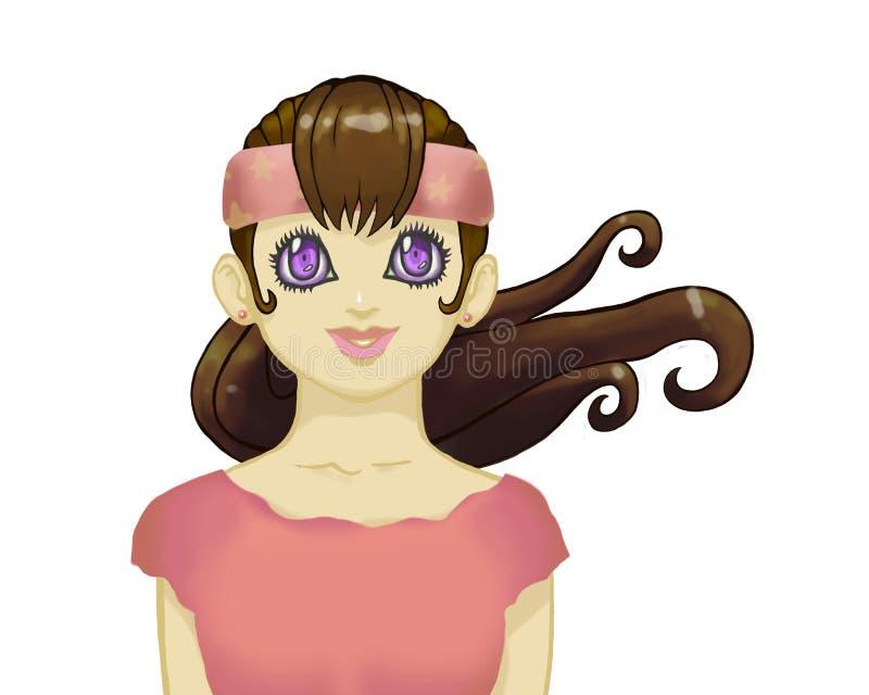 有大紫罗兰色眼睛在桃红色衣裳和绷带的深色的芳香树脂女孩在她的头由在白色后面隔绝的胸口炫耀画象 皇族释放例证