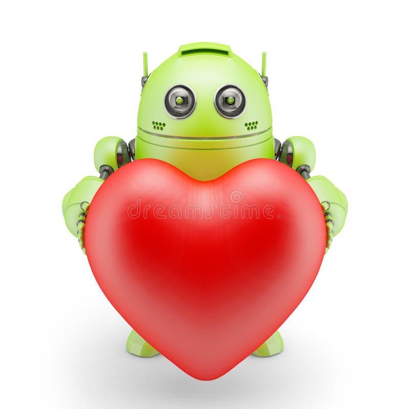 有大红色心脏的逗人喜爱的机器人 皇族释放例证