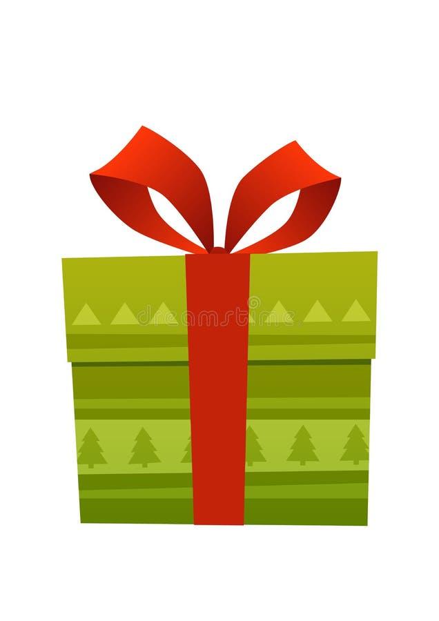 有大红色缎弓的被包裹的绿色礼物盒在白色背景 向量例证