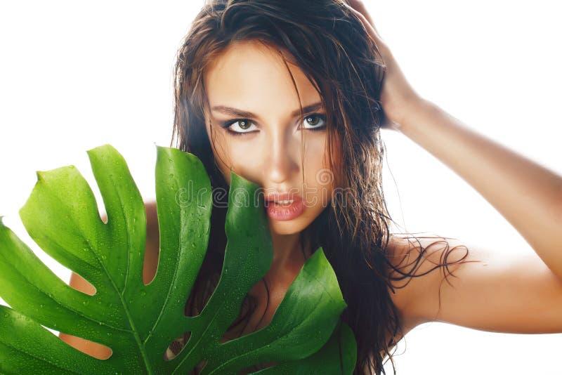 有大绿色叶子的年轻俏丽的深色的妇女在被隔绝的白色背景,温泉关心人概念 免版税库存图片