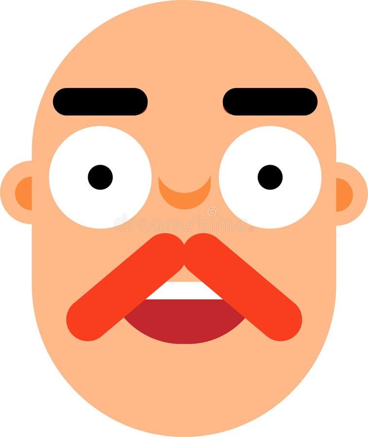 有大胆的头smilling的面孔平的deaign的中年人 向量例证