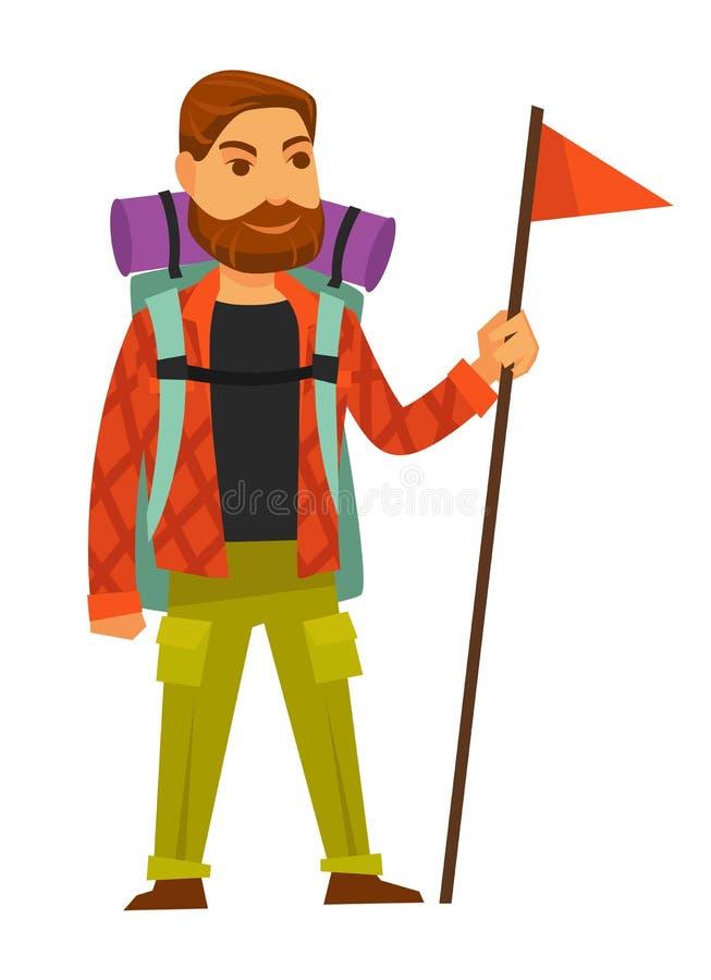 有大背包的有胡子的在长的棍子的人和旗子 向量例证