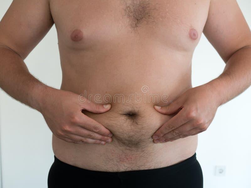 有大腹部的人在白色背景 库存照片
