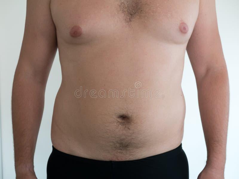 有大腹部的人在白色背景 免版税库存图片