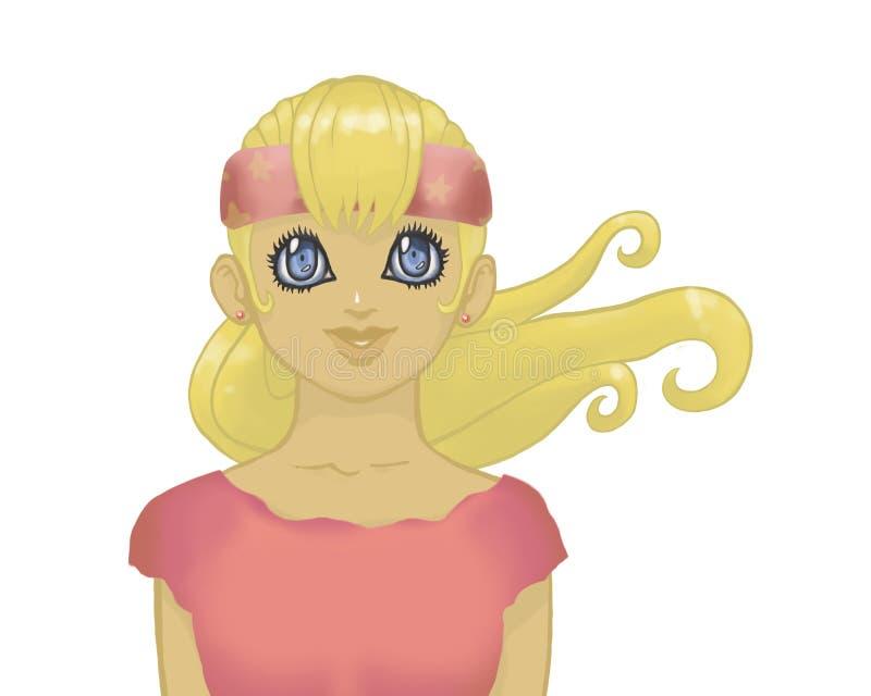有大蓝眼睛在桃红色衣裳和绷带的白肤金发的芳香树脂女孩在她的头由在白色backgroun隔绝的胸口炫耀画象 库存例证