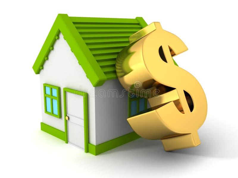 有大金黄美元的符号的绿色房地产概念房子 向量例证
