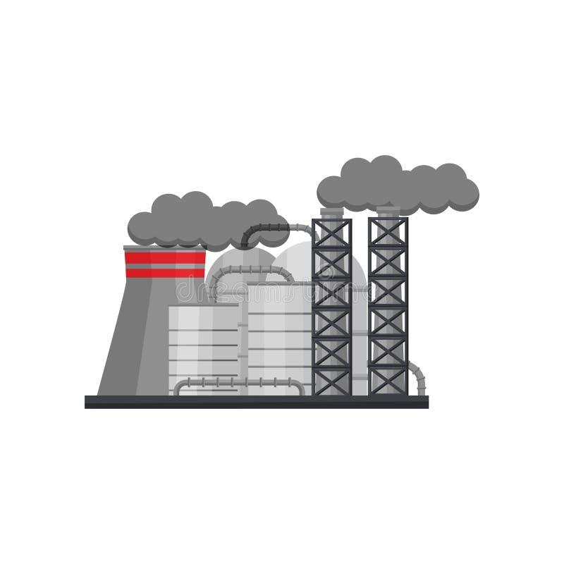 有大钢储水池和烟斗的制造的工厂 冶金工厂 平的传染媒介设计 向量例证