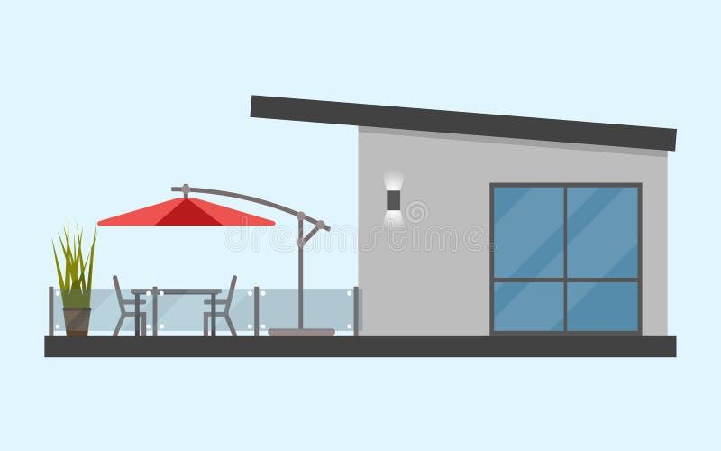 有大阳台的一层房子和桌和椅子和太阳 库存例证