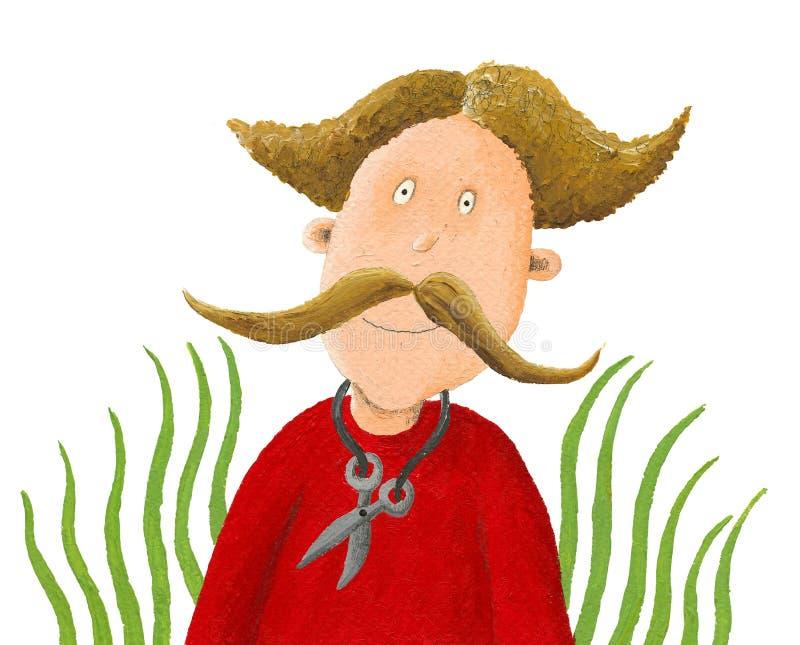 有大髭和剪刀的滑稽的人 向量例证