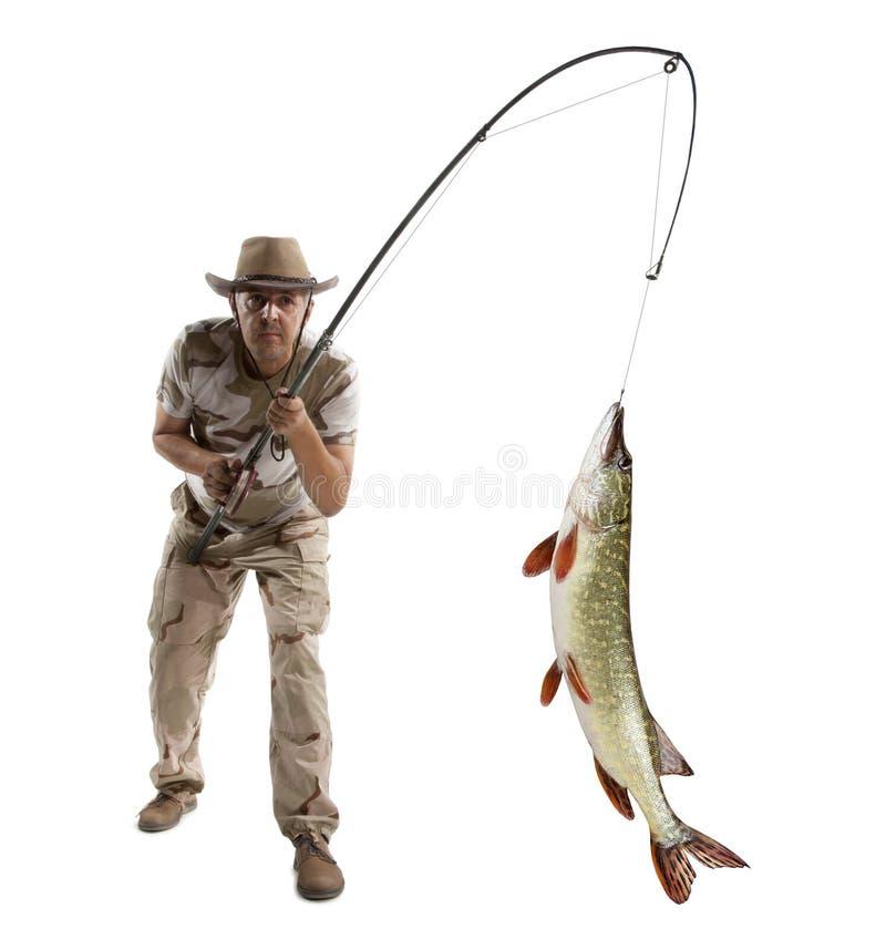 有大鱼的渔夫-派克 免版税库存照片