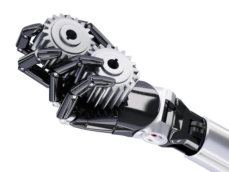 有大齿轮自动化概念3d例证的机器人手. 犰狳, 大齿轮.图片