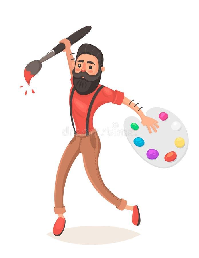 有大画笔和调色板的行家人 跳 创造性思为 对usb的概念连接数想法互联网租用线路 设计员 动画片样式 库存例证