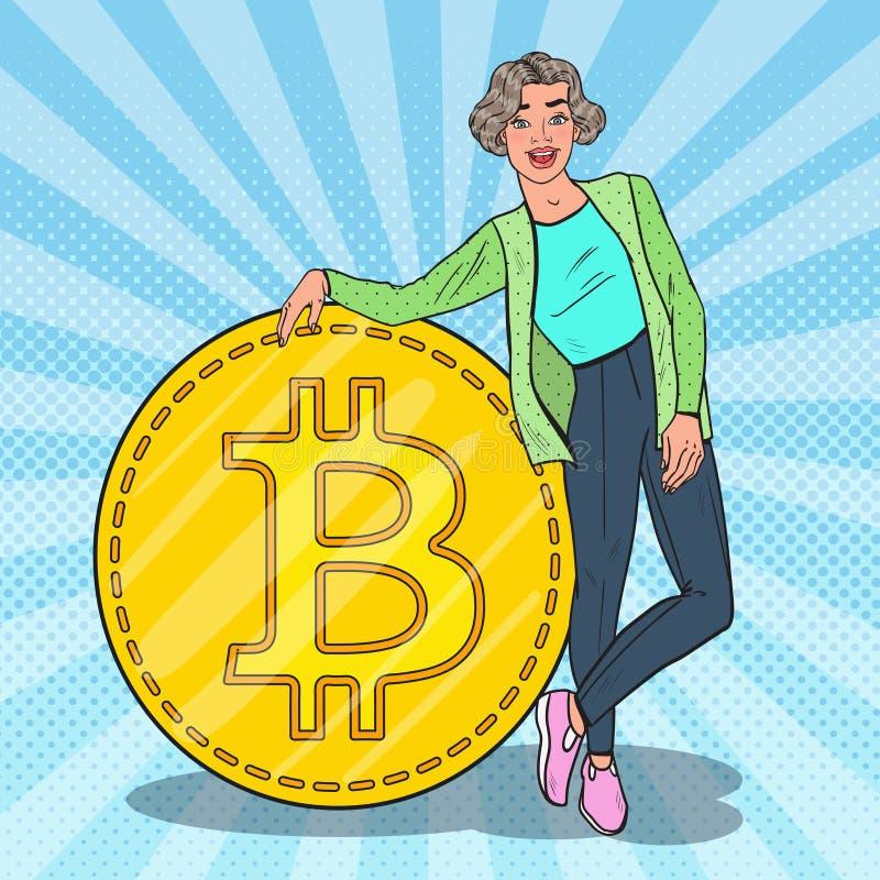 有大Bitcoin的流行艺术微笑的妇女 Cryptocurrency概念 库存例证