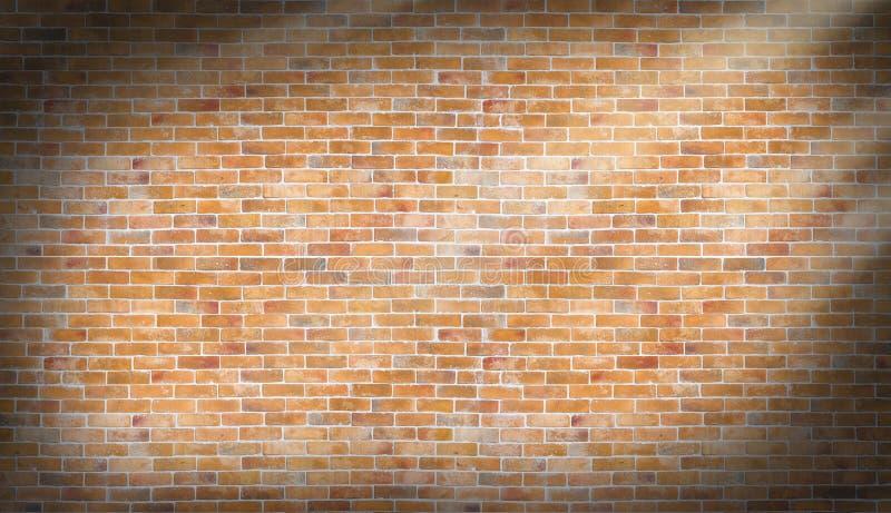 有天光线影响纹理和backgro的老葡萄酒砖墙 免版税库存图片