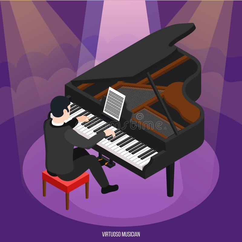有天才的钢琴演奏家等量构成 库存例证