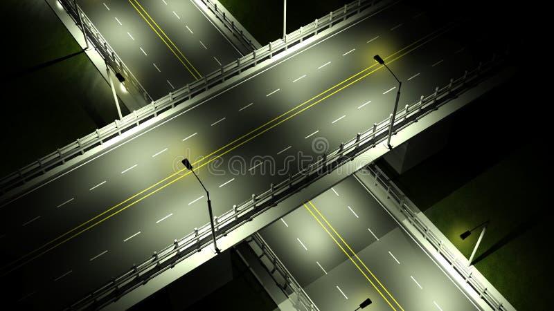 有天桥桥梁的高速公路 向量例证