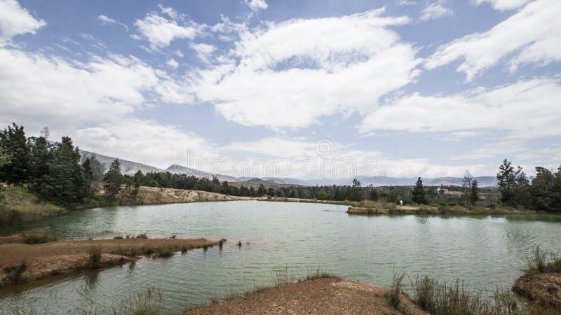有天空蔚蓝的绿色湖和绿色树 免版税图库摄影