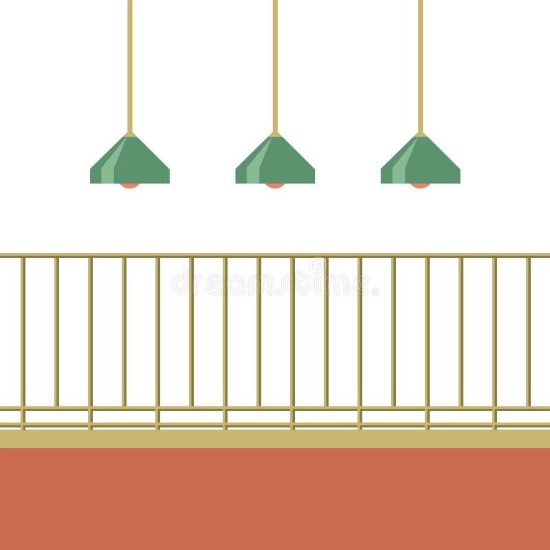 有天花板灯的空的阳台 向量例证