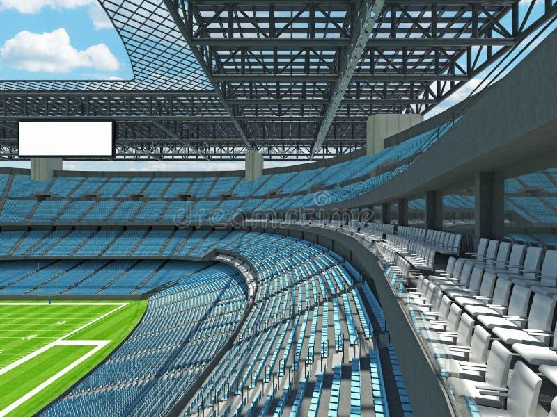 有天蓝色位子的现代橄榄球体育场 皇族释放例证