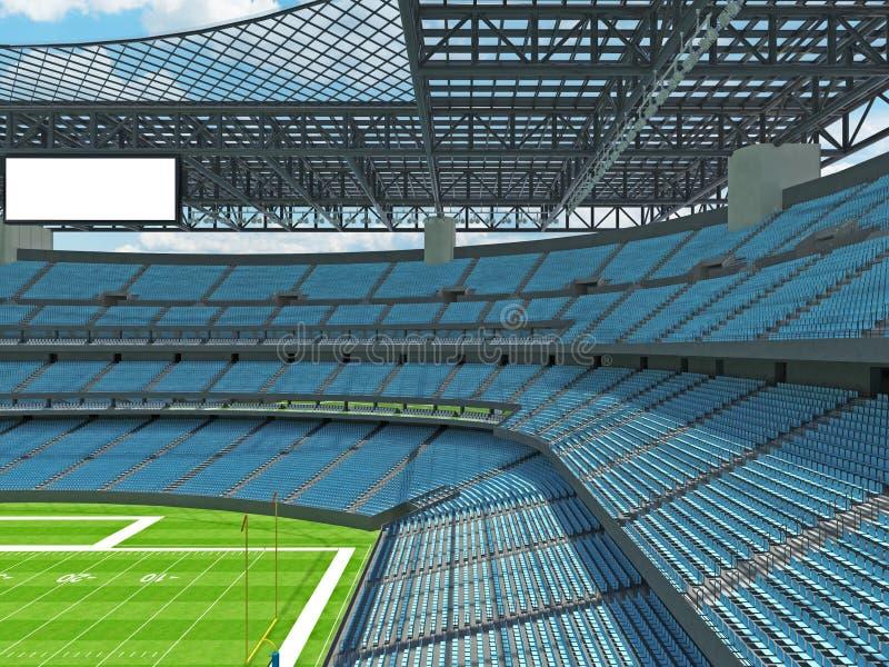 有天蓝色位子的现代橄榄球体育场 向量例证