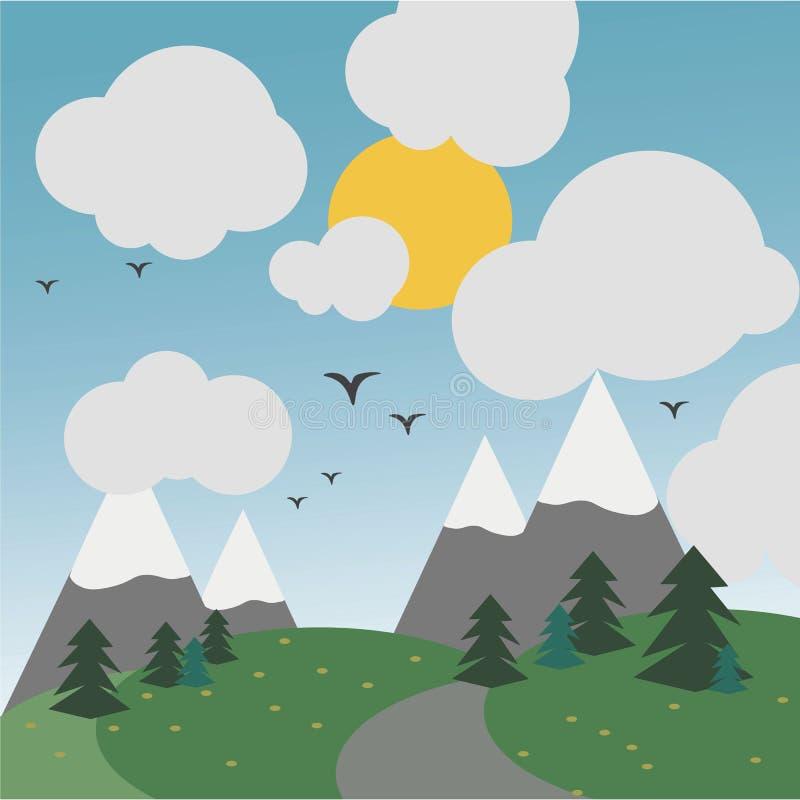 有太阳、鸟和山的图象的天森林与多雪的小山 库存例证